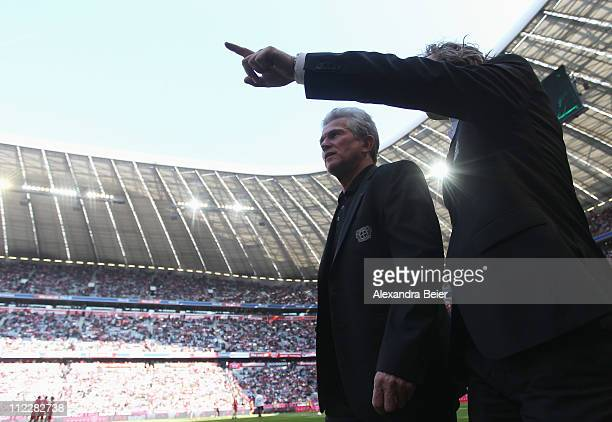 Team coach Jupp Heynckes of Leverkusen arrives for the Bundesliga match between FC Bayern Muenchen and Bayer Leverkusen at Allianz Arena on April 17...