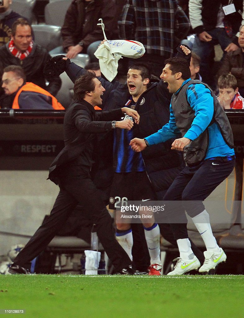 fc bayern muenchen v inter milan uefa champions league photos team coach leonardo l of inter milan celebrates his team s victory with cristian chivu