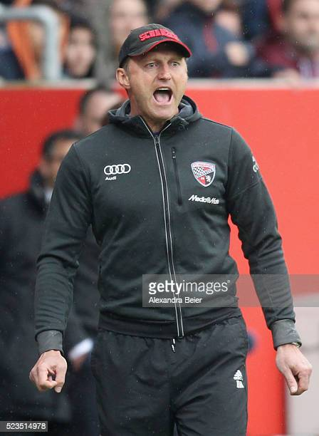 Team coach Ralph Hasenhuettl of FC Ingolstadt reacts during the Bundesliga match between FC Ingolstadt and Hannover 96 at Audi Sportpark on April 23...