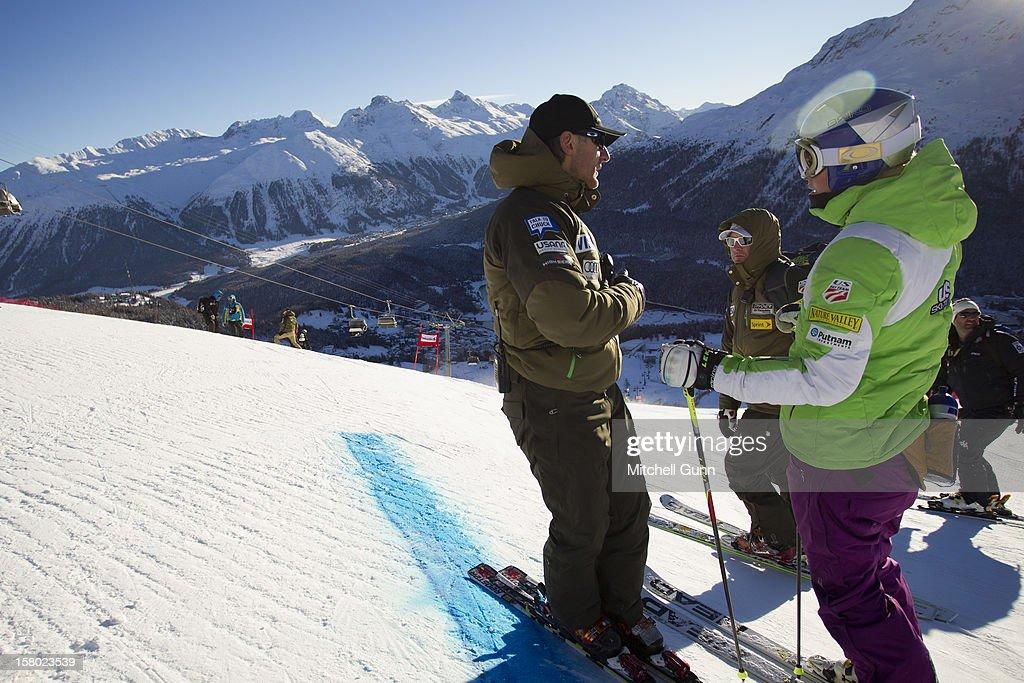 US Team coach Roland Pfeifer briefs Lindsey Vonn before the Audi FIS Alpine Ski World Giant Slalom race on December 9 2012 in St Moritz, Switzerland.