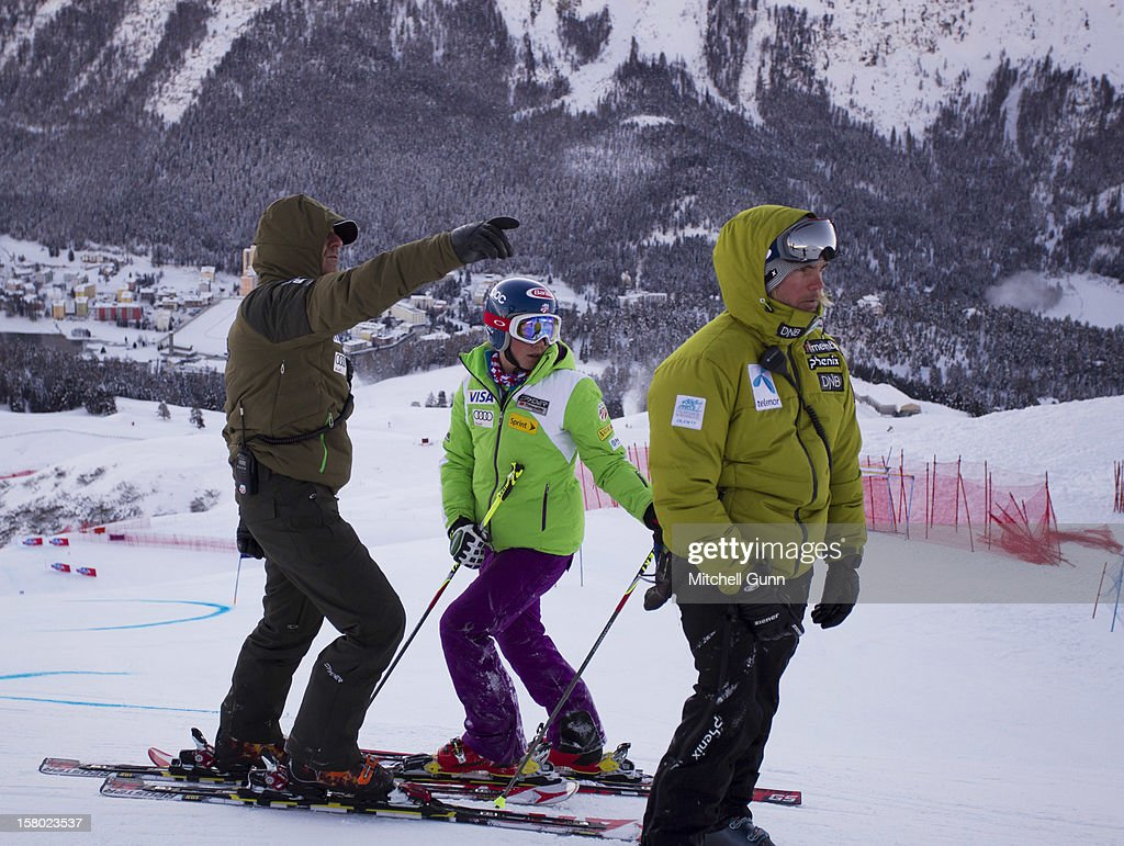 US Team coach Roland Pfeifer briefs Mikaela Shiffrin of USA before the Audi FIS Alpine Ski World Giant Slalom race on December 9 2012 in St Moritz, Switzerland.