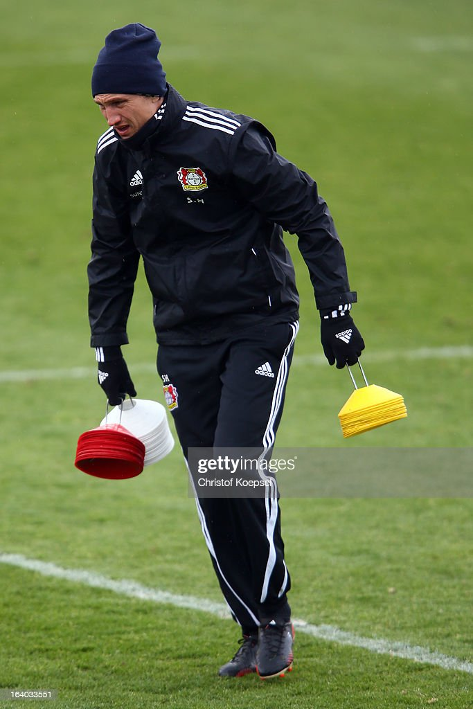 Team coach Sami Hyypiae attends the Bayer 04 Leverkusen training session on March 19 2013 in Leverkusen Germany