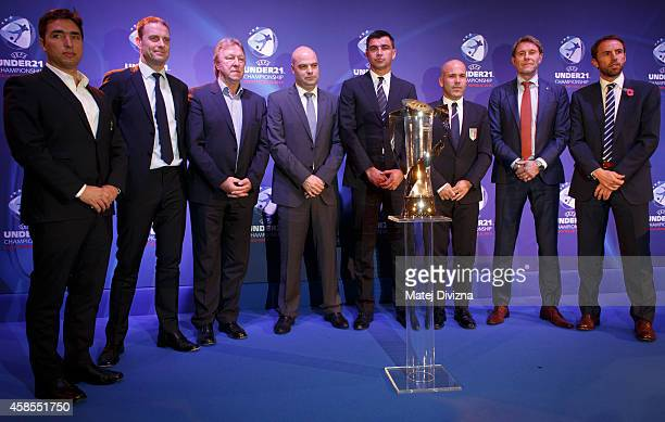Team coaches Rui Jorge of Portugal Jess Thorup of Denmark Horst Hrubesch of Germany Jakub Dovalil of Czech Republic Radovan Circic of Serbia Luigi Di...