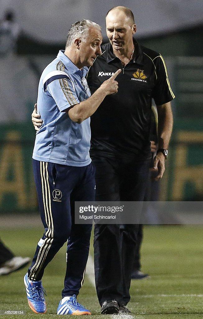 Team coach's Dorival Junior andGilmar Dal Pozzo of Criciuma reacts after a match between Palmeiras and Criciuma of Brasileirao Series A 2014 at...