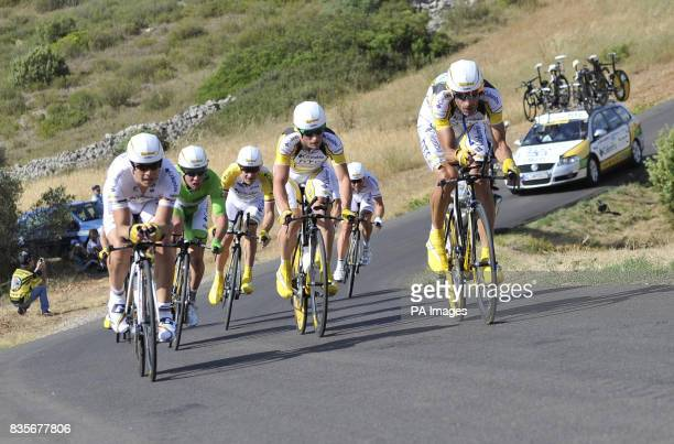 Team Columbia including Mark Cavendish in action in the Team Time Trial during the fourth stage of the Tour de France around Montpellier France