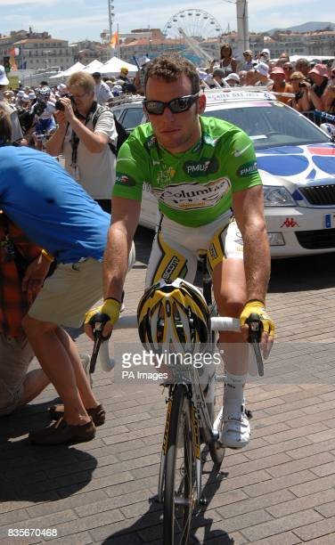 Team Columbia's Mark Cavendish before the start of the third stage of the Tour de France between Marseille and La GrandeMotte
