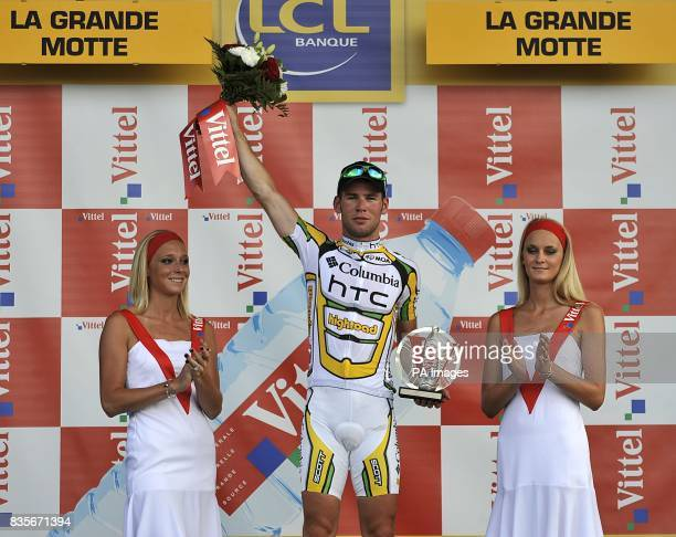 Team Columbia's Mark Cavendish celebrates winning the third stage of the Tour de France between Marseille and La GrandeMotte