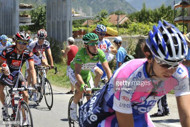 Team Columbia's Mark Cavendish competing in the eighth stage of the Tour de France between Andorre la Vieille and Saint Girons