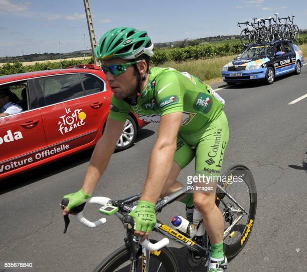 Team Columbia's Mark Cavendish competing in the fifth stage of the Tour de France between Le Cap d'Agde and Perpignan