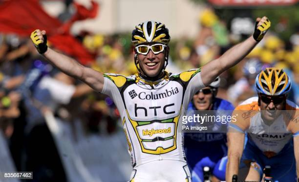 Team Columbia's Mark Cavendish crosses the line to win the second stage of the Tour de France between Monaco and Brignoles