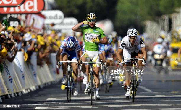 Team Columbia's Mark Cavendish crosses the line to win the third stage of the Tour de France between Marseille and La GrandeMotte