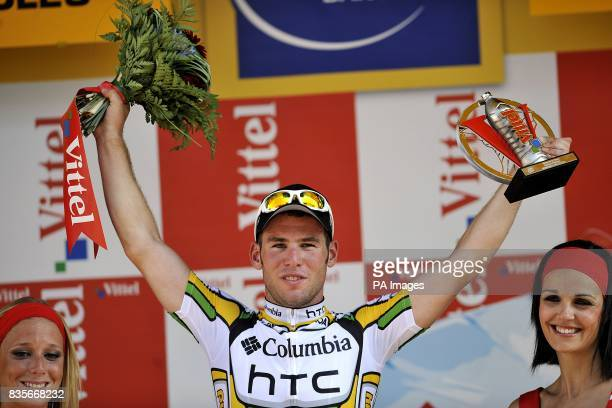 Team Columbia's Mark Cavendish on the podium after winning the second stage of the Tour de France between Monaco and Brignoles