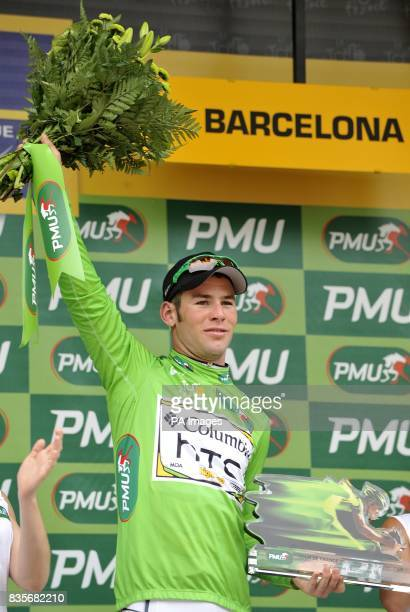 Team Columbia's Mark Cavendish wearing the green jersey on the podium after the sixth stage of the Tour de France between Gerone and Barcelona