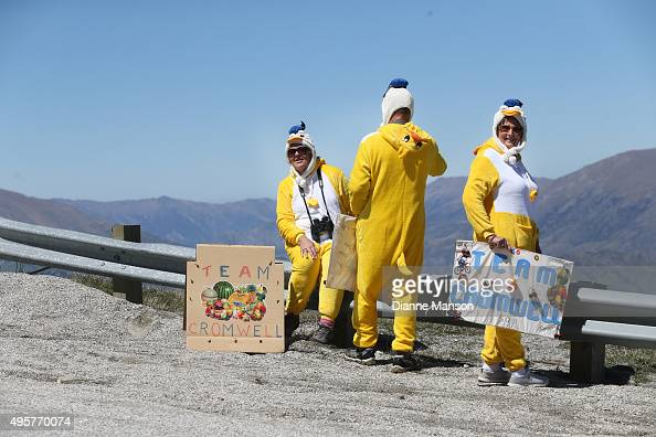 Team Cromwell supporters at Coronet Peak during stage four of the Tour of Southland on November 5 2015 in Invercargill New Zealand