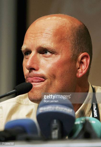 Team CSC Manager and 1996 Tour de France winnner Bjarne Riis talks to the media after the suspension of CSC team leader Ivan Basso of Italy during...