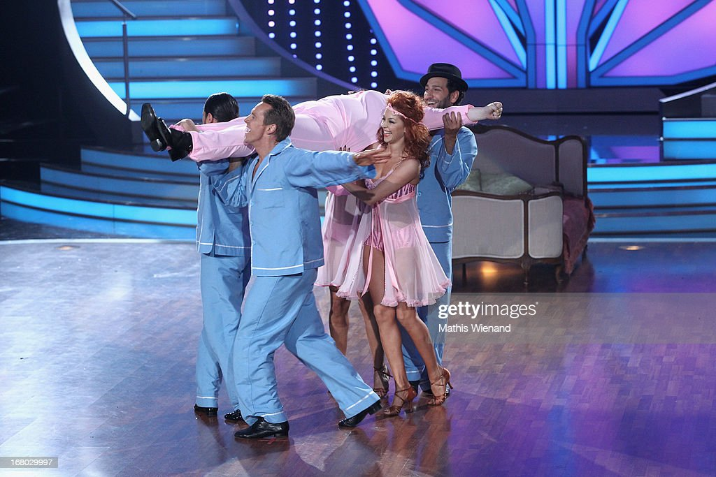 Team Dancing with Manuela Wisbeck, <a gi-track='captionPersonalityLinkClicked' href=/galleries/search?phrase=Massimo+Sinato&family=editorial&specificpeople=6901675 ng-click='$event.stopPropagation()'>Massimo Sinato</a>, Juergen Milski, Oana Andreea Nechiti, Manuel Cortez and Melissa Ortiz-Gomez attend the 5th Show of Let's Dance on RTL on May 3, 2013 in Cologne, Germany.