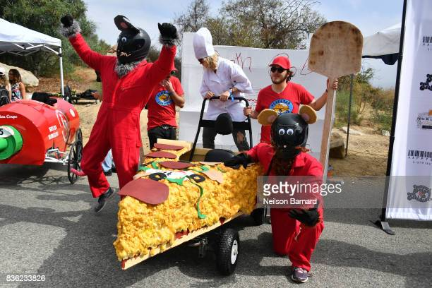 Team Death Cab for Pizza participate in the Red Bull Soapbox Race 2017 at Elysian Park on August 20 2017 in Los Angeles California Seventy teams...