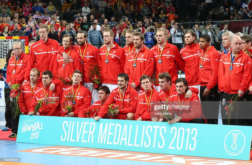 Team Denmark pose with their silver medals after the Men's Handball World Championship 2013 final match between Spain and Denmark at Palau Sant Jordi on January 27, 2013 in Barcelona, Spain.