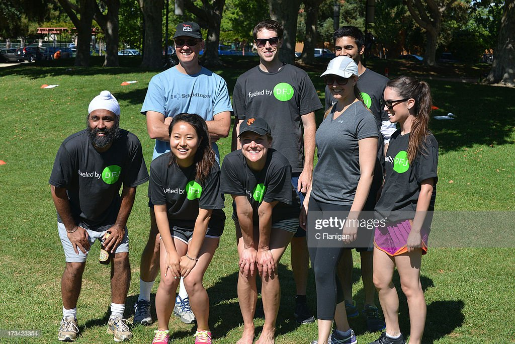 Team DFJ poses for a photo during the Founder Institute's Silicon Valley Sports League event on July 13, 2013 in Palo Alto, California.