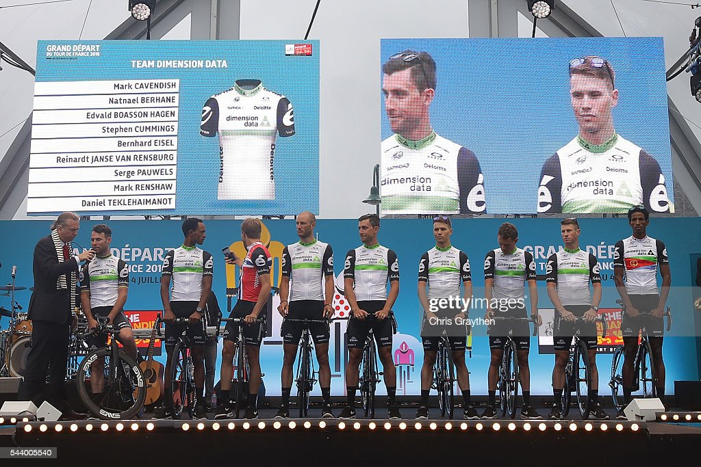 Team Dimension Data is introduced during the team presentation ahead of the 2016 Le Tour de France on June 30, 2016 in Sainte-Mere-Eglise, France.