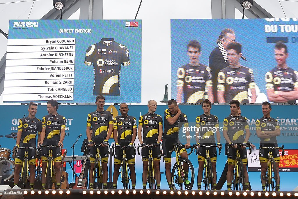 Team Direct Energie is introduced during the team presentation ahead of the 2016 Le Tour de France on June 30, 2016 in Sainte-Mere-Eglise, France.