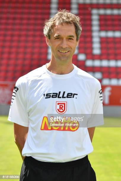 Team doctor Andreas HarlassNeuking of Jahn Regensburg poses during the team presentation at Continental Arena on July 18 2017 in Regensburg Germany
