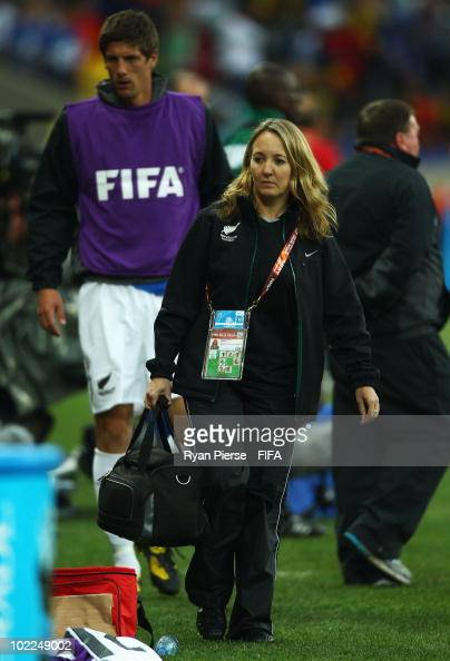 Team doctor Celeste Geertsema of New Zealand walks along the sideline during the 2010 FIFA World Cup South Africa Group F match between Italy and New...