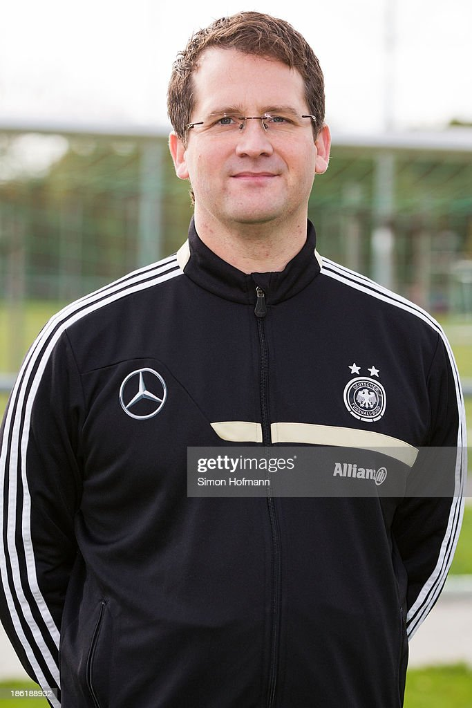 Team doctor Dr. Andreas Groll of Germany poses during the German Girls U15 national team presentation at Wiener Ring training ground on October 29, 2013 in Offenbach, Germany.