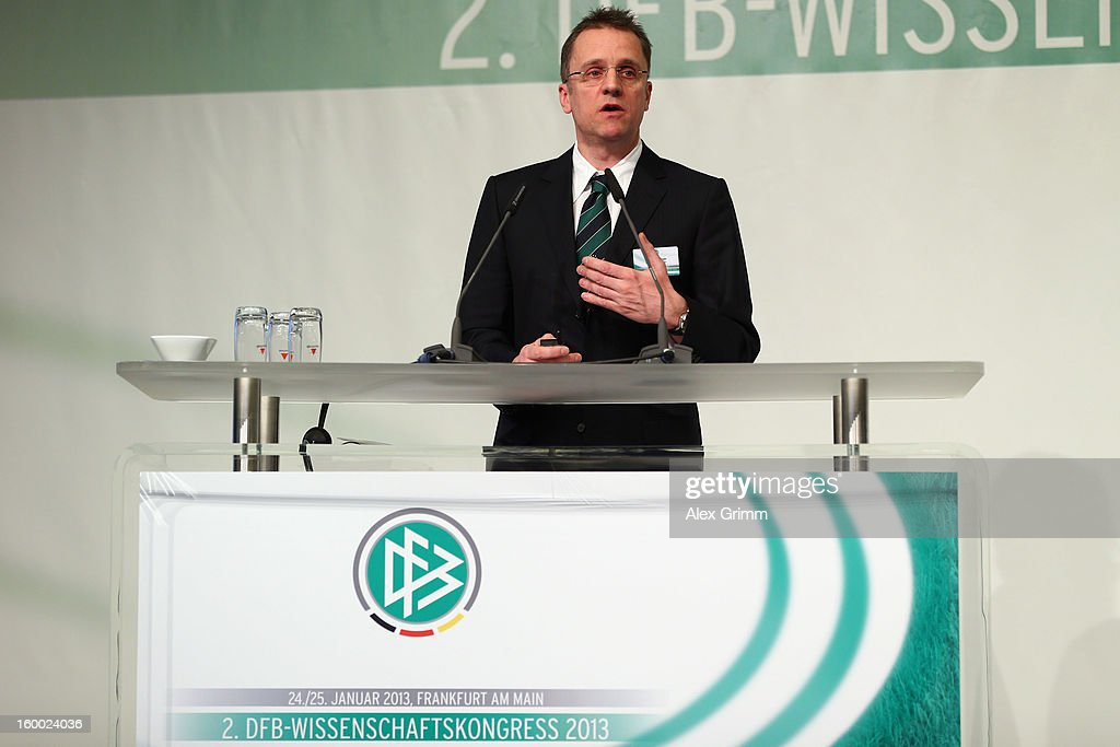 DFB team doctor <a gi-track='captionPersonalityLinkClicked' href=/galleries/search?phrase=Tim+Meyer&family=editorial&specificpeople=623213 ng-click='$event.stopPropagation()'>Tim Meyer</a> addresses the DFB Science Congress 2013 at the Steigenberger Airport Hotel on January 25, 2013 in Frankfurt am Main, Germany.