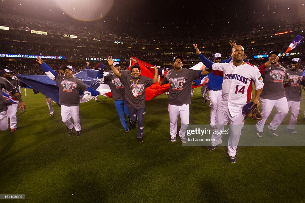 Team Dominican Republic celebrates after winning the 2013 World Baseball Classic Championship Game against Team Puerto Rico on Tuesday, March 19, 2013 at AT&T Park in San Francisco, California.