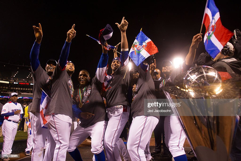 Team Dominican Republic celebrates on the mound after winning the 2013 World Baseball Classic Championship Game against Team Puerto Rico on Tuesday, March 19, 2013 at AT&T Park in San Francisco, California.