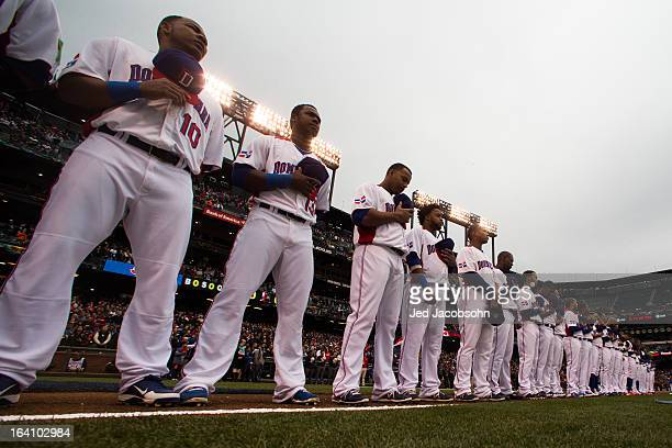 Team Dominican Republic players are seen on the field during the pregame ceremony before the 2013 World Baseball Classic Championship Game against...
