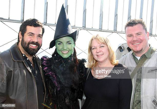 'Team Elphaba' makeup artists Jimmy Cortes Kerry Ellis as 'Elphaba' Kathe Mull nd Chris Clark pose at the lighting of the Empire State Building...