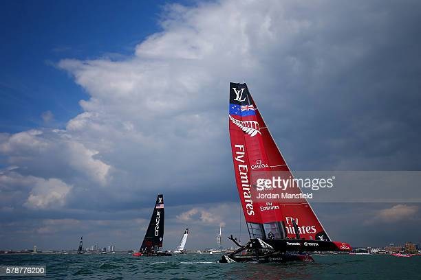 Team Emirates New Zealand skippered by Glenn Ashby race during day one of the Louis Vuitton America's Cup World Series on July 22 2016 in Portsmouth...