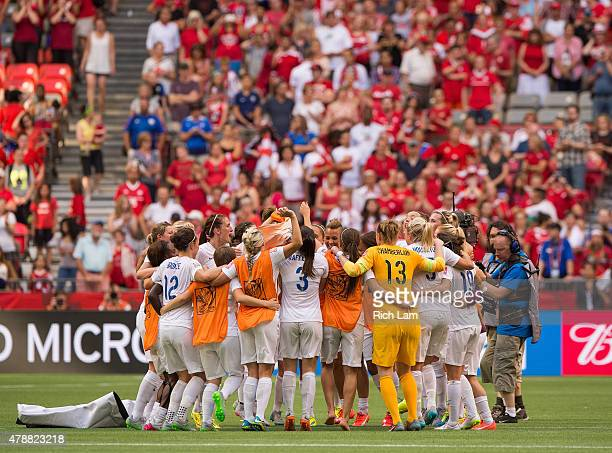 Team England celebrates after defeating Canada 21 in the FIFA Women's World Cup Canada 2015 Quarter Final match between the England and Canada June...