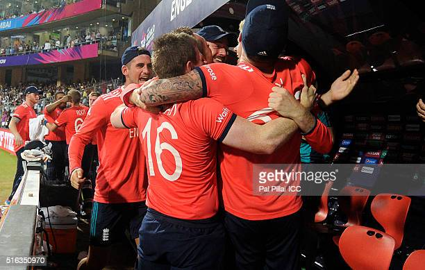 Team England celebrates after winning the ICC World Twenty20 India 2016 match between South Africa and England at the Wankhede stadium on March 18...