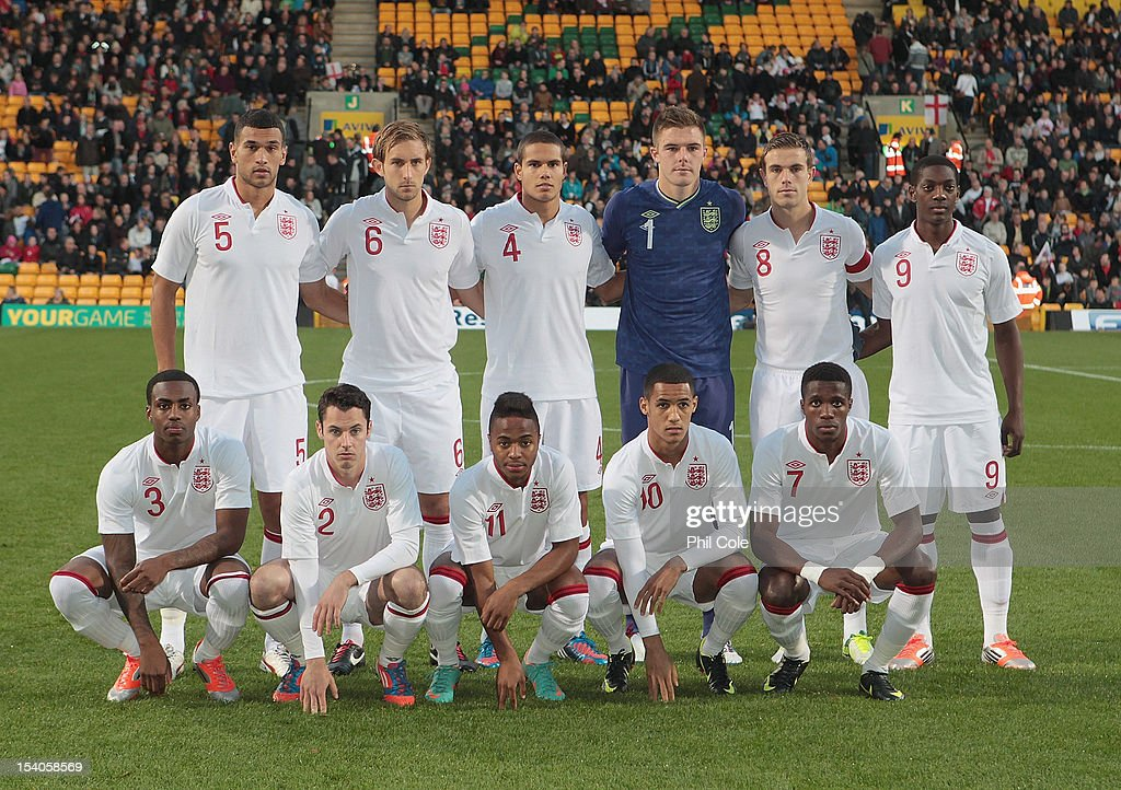 Team England pose during the Under 21 European Championship Play Off between England U21 and Serbia U21 at Carrow Road on October 12, 2012 in Norwich, England.