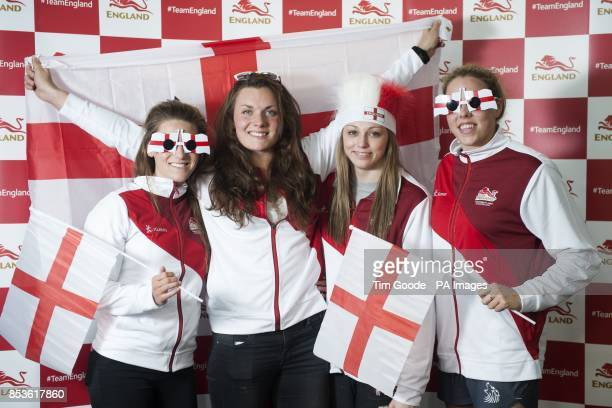 Team England Swimmers Jessica Fullalove Jessica Lloyd Sophie Taylor and Lauren Quigley during a kitting out session at St George's Park Burton