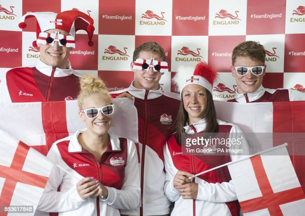Team England swimmers Nick Grainger Eleanor Faulkner Ben Proud Amy Smith and Lewis Coleman during a kitting out session at St George's Park Burton