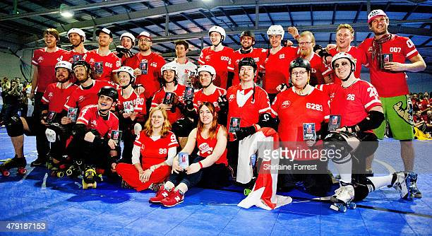 Team England take second place in the Men's Roller Derby World Cup at Futsal Arena on March 16 2014 in Birmingham England