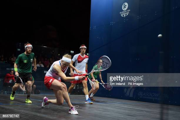 Team England's Alison Waters with Peter Barker against Wales's Peter Creed and Tesni Evans during their mixed doubles pool match at Scotstoun Sports...