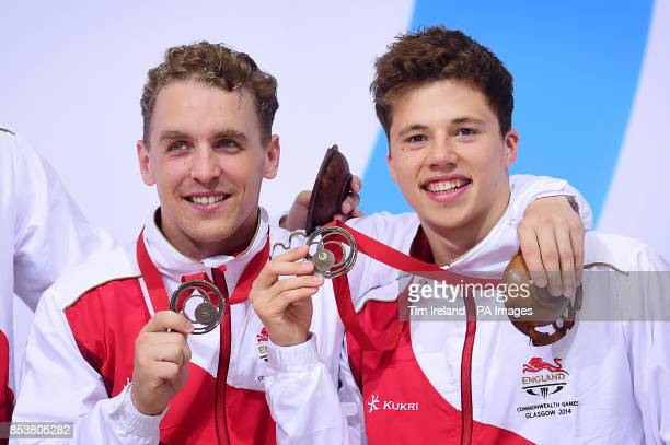 Team England's Freddie Woodward and Nick BakerRobinson celebrate Bronze in the synchronised 3m springboard final at the Royal Commonwealth Pool in...