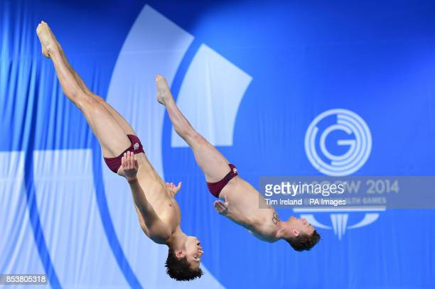 Team England's Freddie Woodward and Nick BakerRobinson in the synchronised 3m springboard final at the Royal Commonwealth Pool in Edinburgh during...