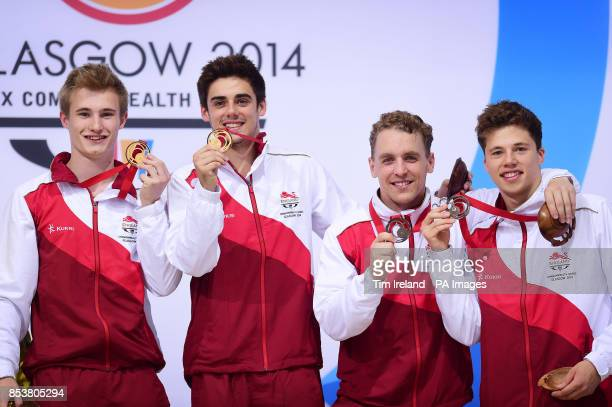 Team England's Jack Laugher and Chris Mears celebrate Gold with Nick BakerRobinson and Freddie Woodward celebrating Bronze in the synchronised 3m...