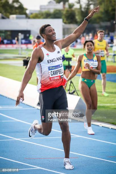Team England's Theo Campbell crosses the line first from Team Australia's Morgan Mitchell in the mixed 4x100m relay on night 2 of Nitro Athletics on...