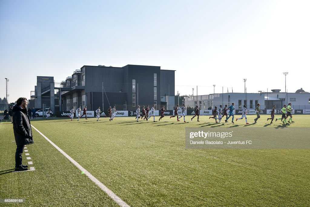 team entrance during the TIM Cup Primavera match between Juventus U19 and Torino FC U19 at Juventus Center Vinovo on November 29, 2017 in Vinovo, Italy.