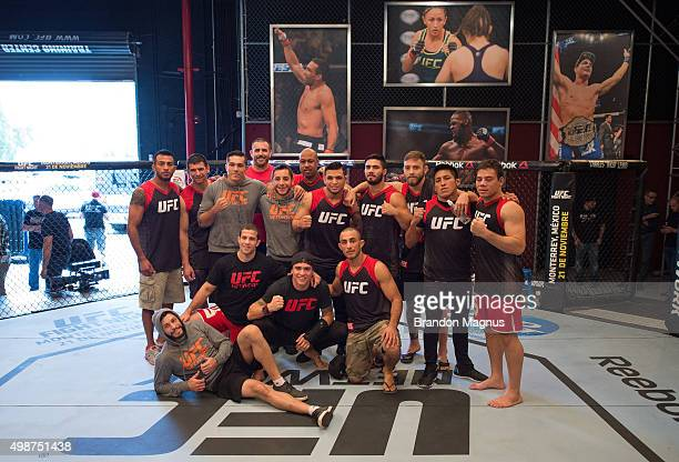 Team Escudero poses for a team photo after the semifinals fight during the filming of The Ultimate Fighter Latin America Team Gastelum vs Team...
