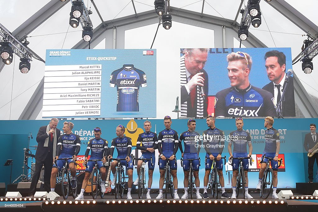 Team Etixx-Quick Step is introduced during the team presentation ahead of the 2016 Le Tour de France on June 30, 2016 in Sainte-Mere-Eglise, France.