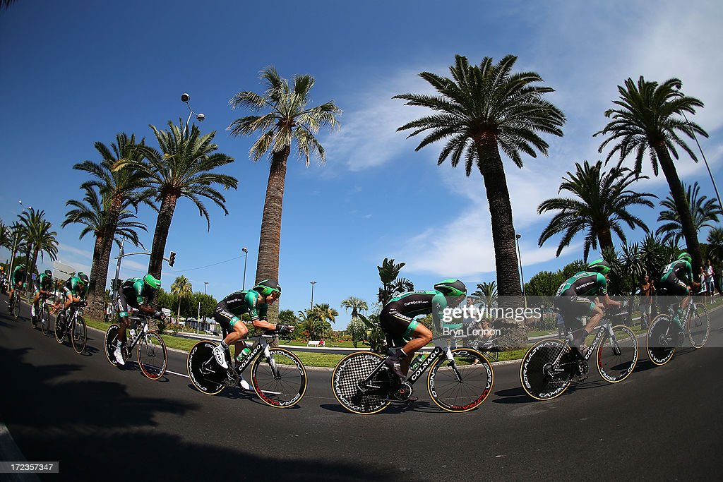 Team Europcar in action during stage four of the 2013 Tour de France, a 25KM Team Time Trial on July 2, 2013 in Nice, France.