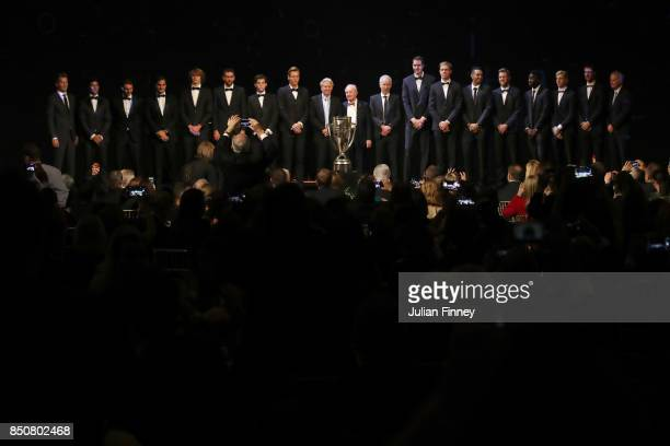Team Europe and Team World line up on stage with John Mcenroe Bjorn Borg and Rod Laver at the Laver Cup Gala dinner ahead of the Laver Cup on...